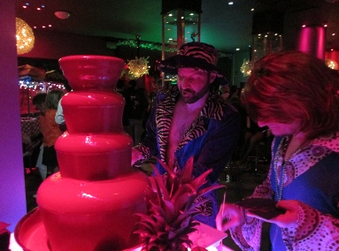 chocolate fountain with attendant